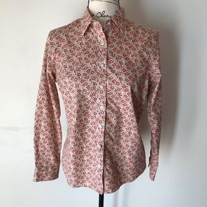 Lands End floral cotton button down shirt 8P